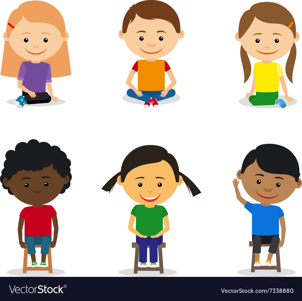 Little kids sitting vector image