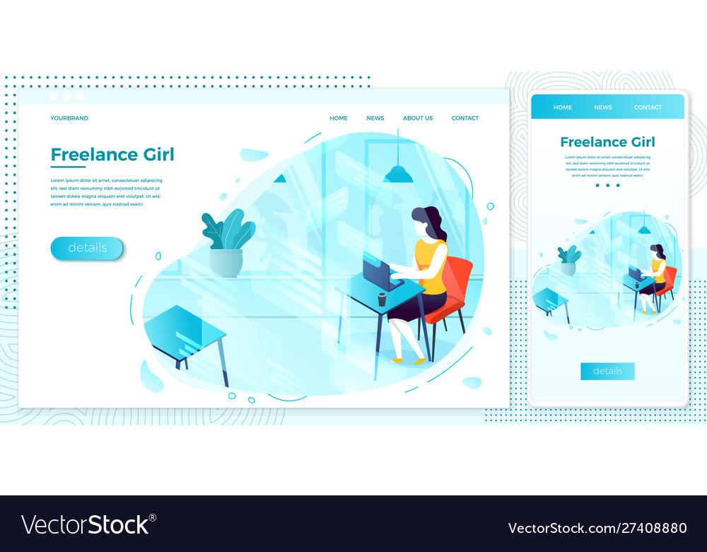 Web online freelancer girl with notebook