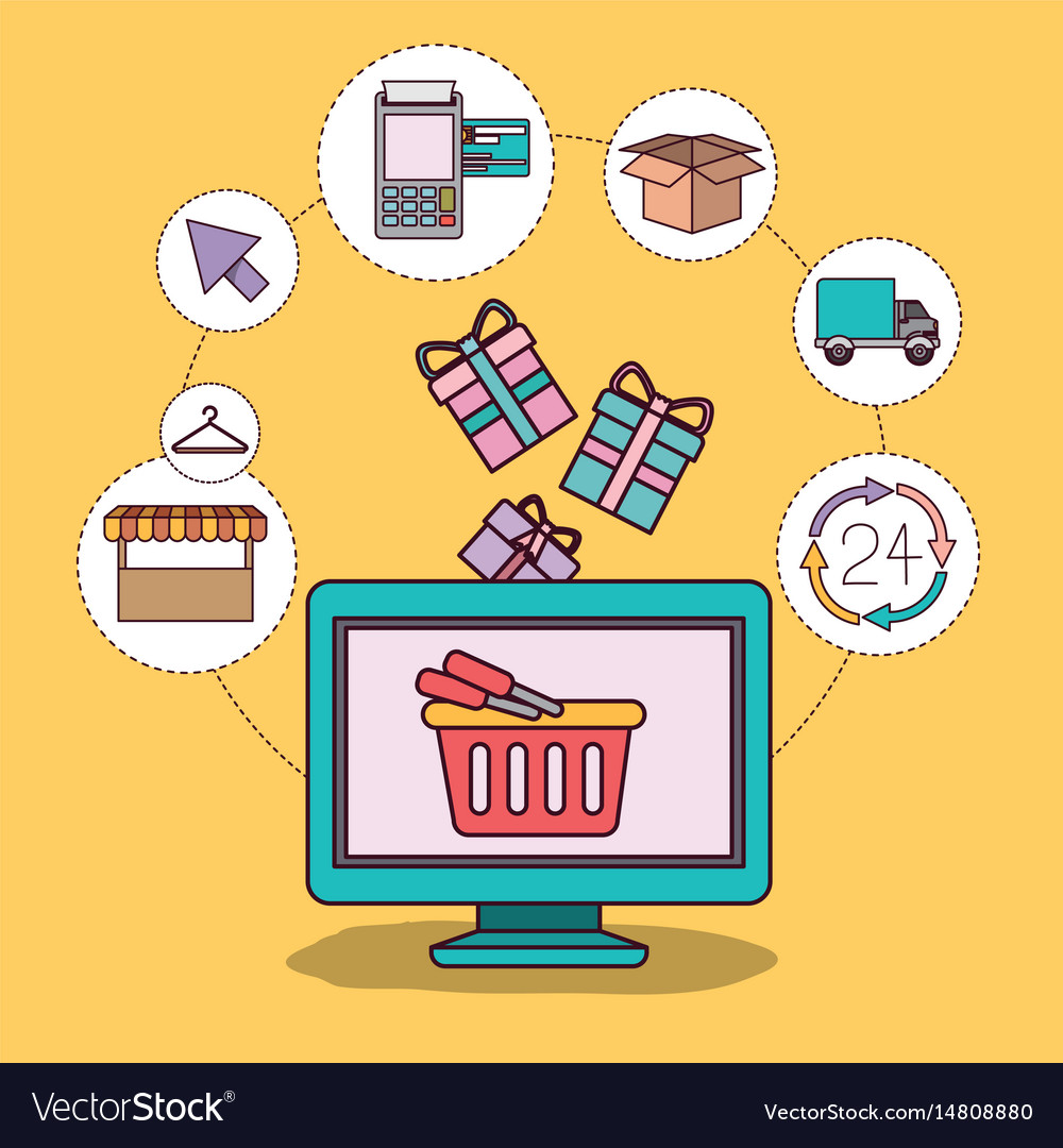 Yellow background with desktop computer and online vector image