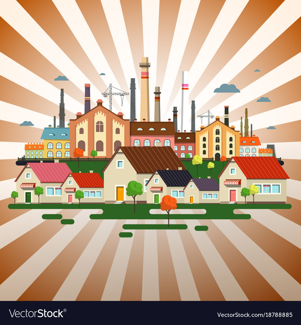 Abstract town on retro background factory in city vector image