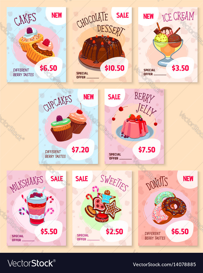 Bakery desserts price tags templates set