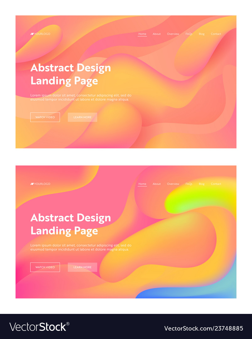 Coral abstract wavy landing page background set