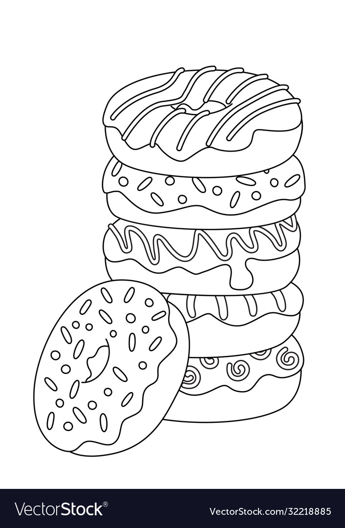 Doodle Coloring Book Page Donut Pile Sweets Vector Image