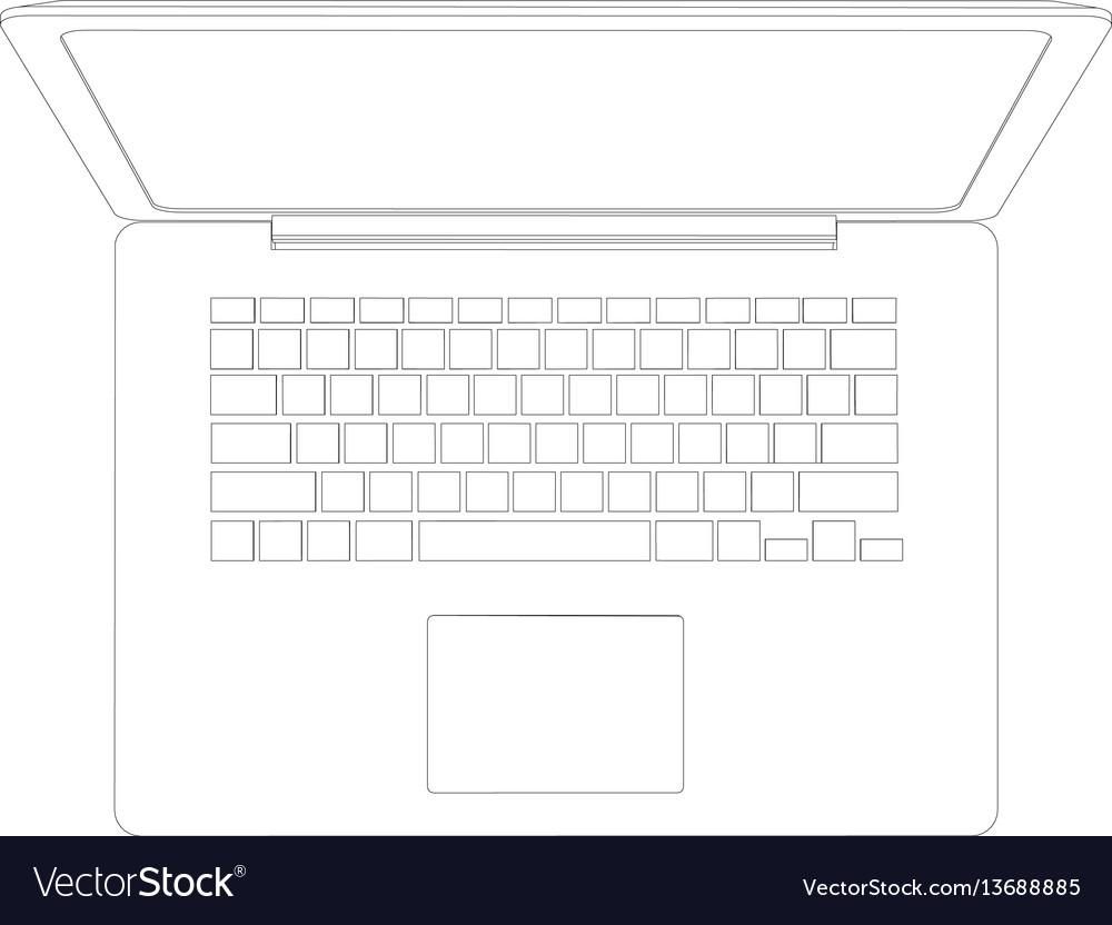Drawing of wire-frame open laptop top view