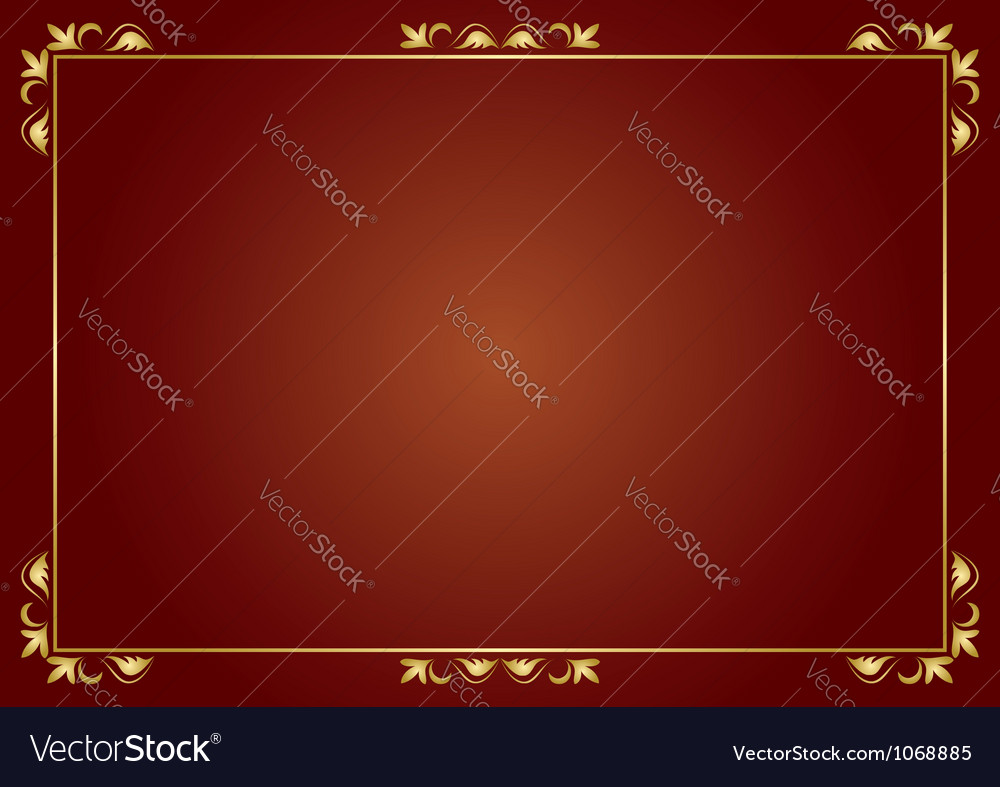 Golden frame on brown background vector image