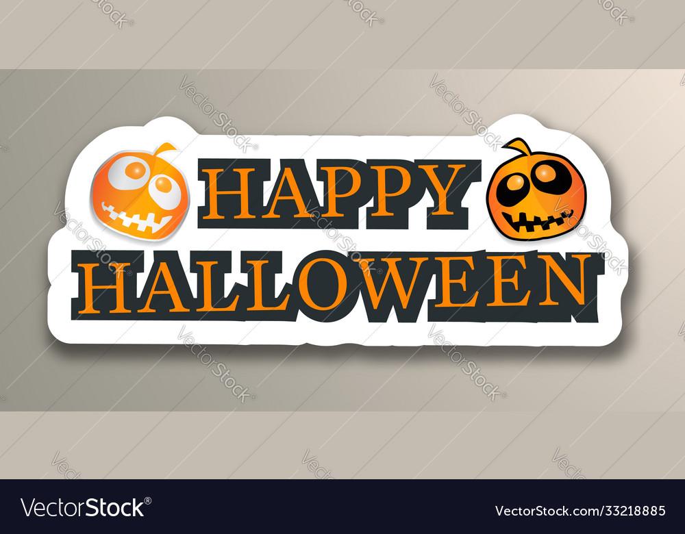 Happy halloween with pumpkins sticker