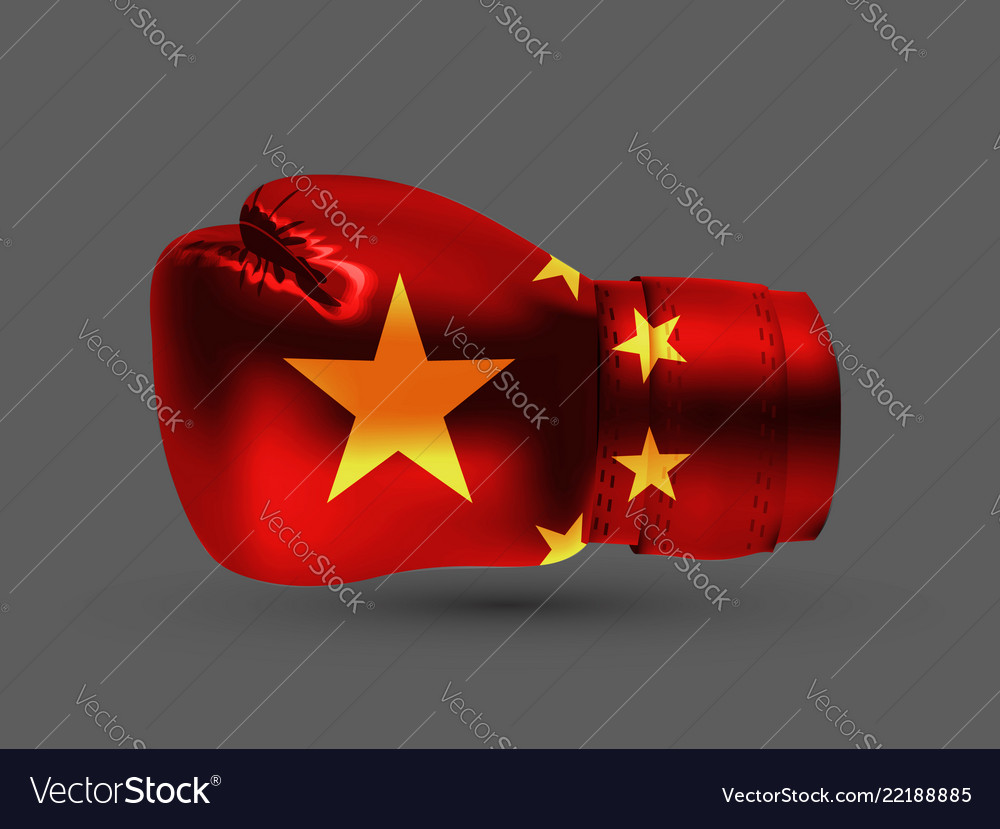 Isolated boxing glove peoples republic china flag