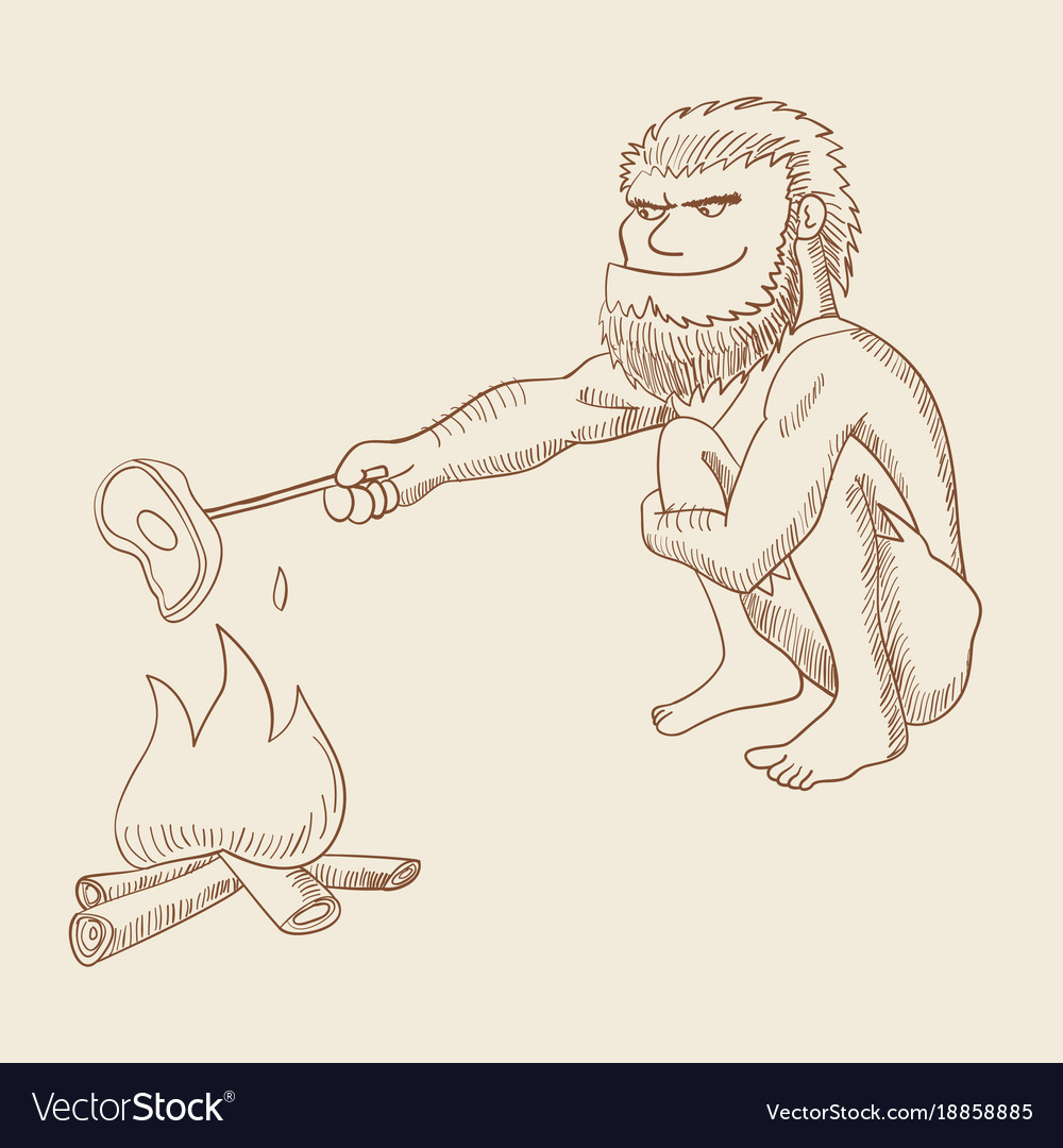 Line art of a caveman cooking meat on fire