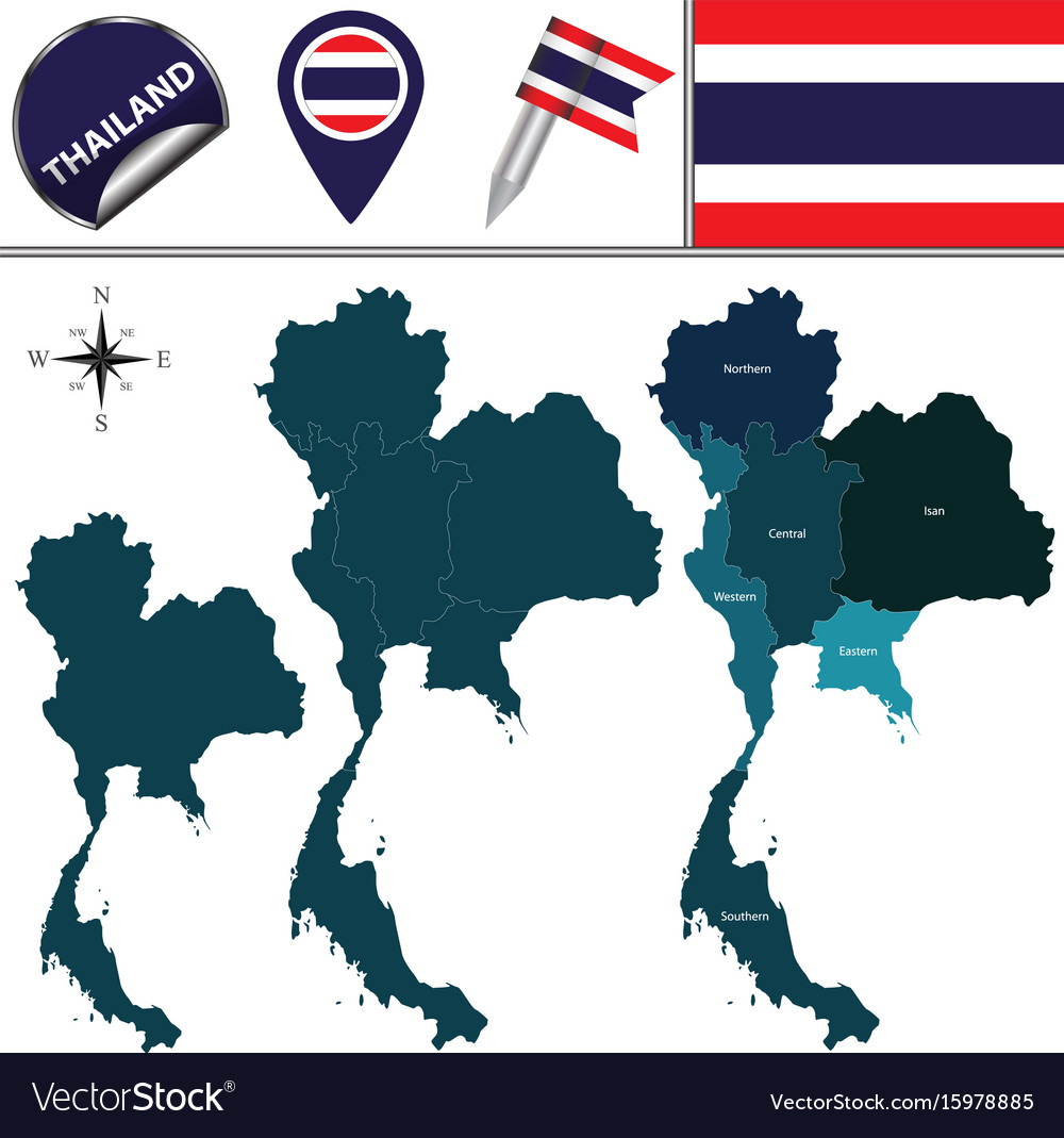 Map of thailand with regions