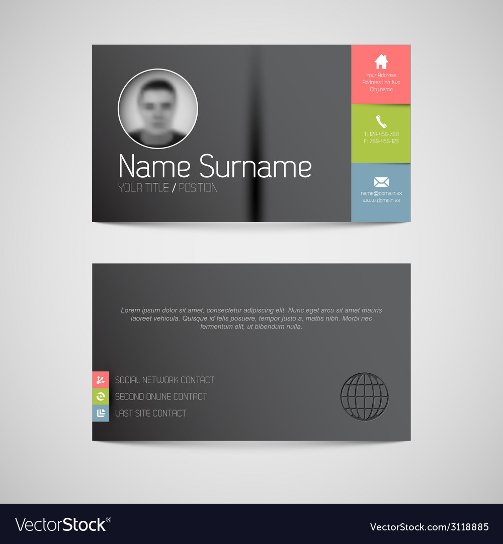 Modern dark business card template with flat user vector image