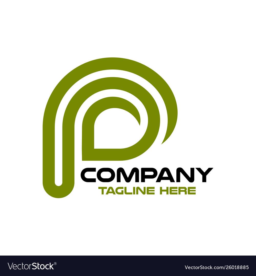 Modern leaf and letter p logo