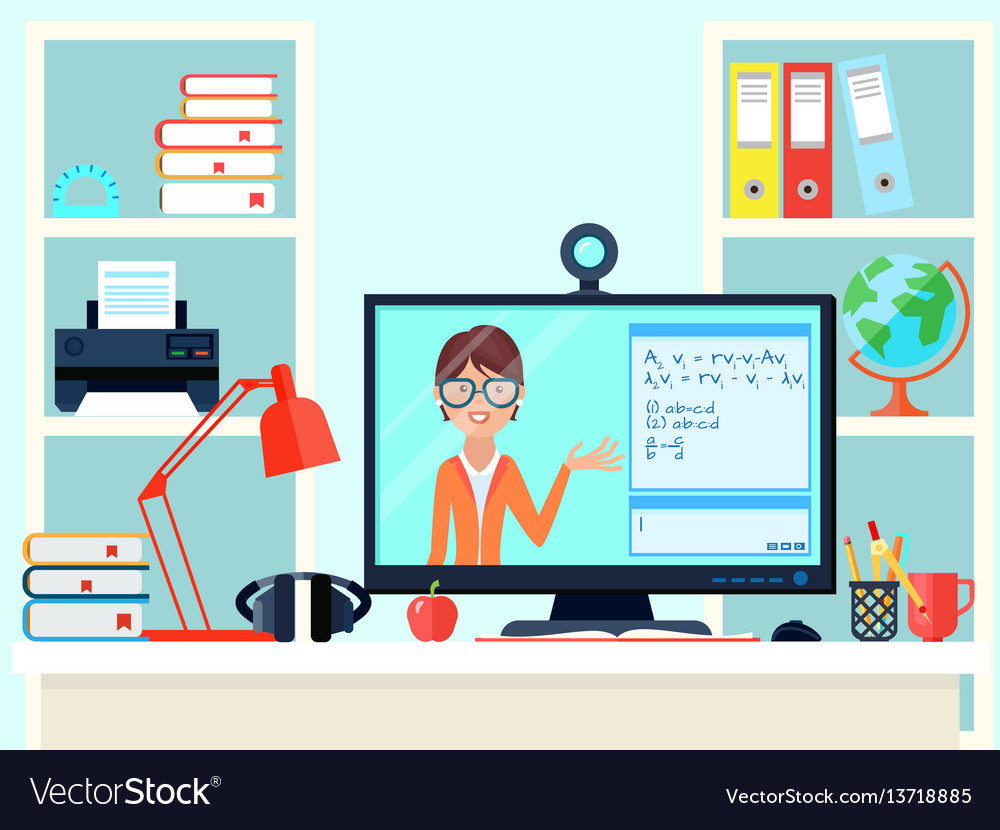 Remote Learning Teacher Composition Royalty Free Vector