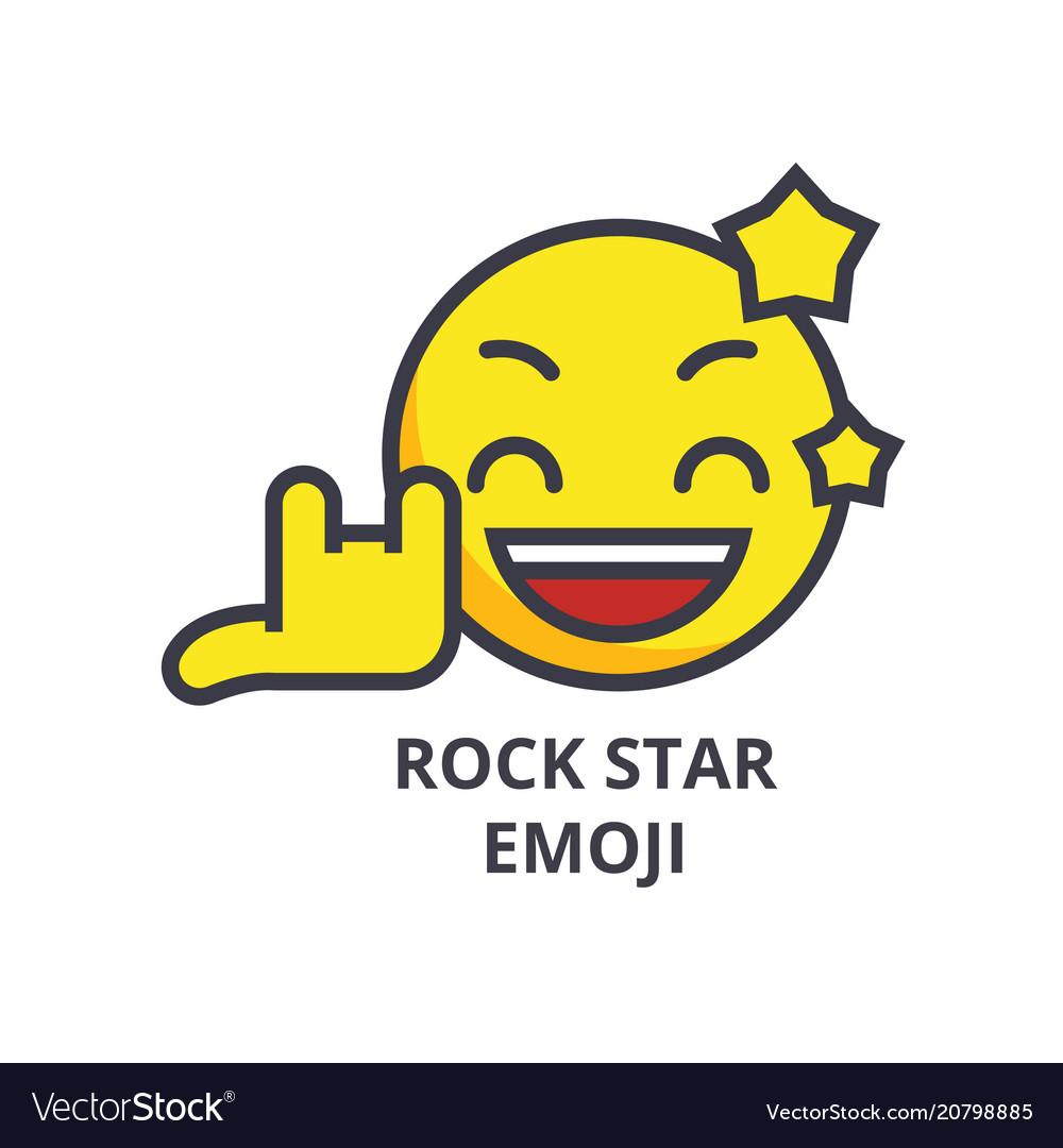 Rock star emoji line icon sign