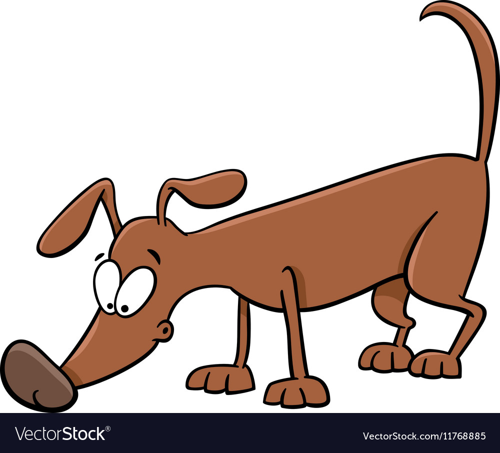 Sniffing dog cartoon vector image
