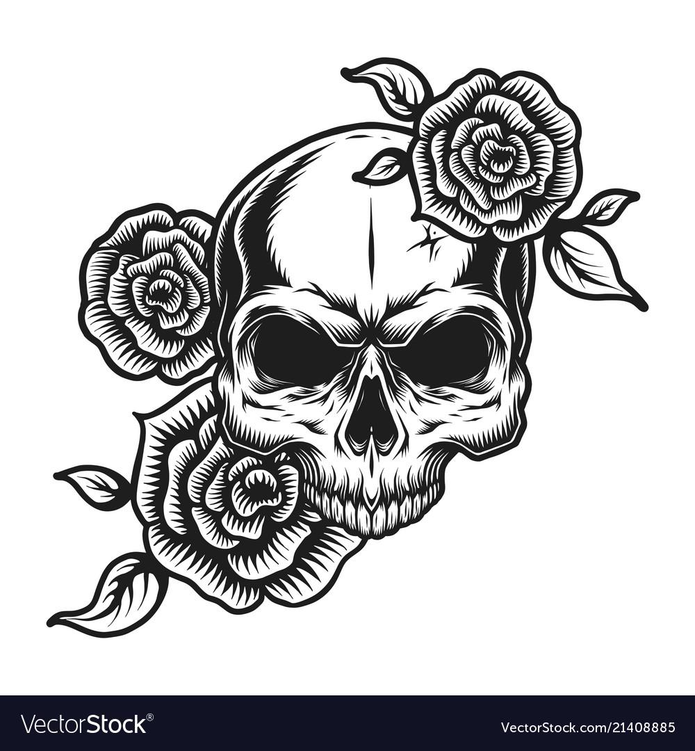 Vintage Human Skull Tattoo Concept Royalty Free Vector Image
