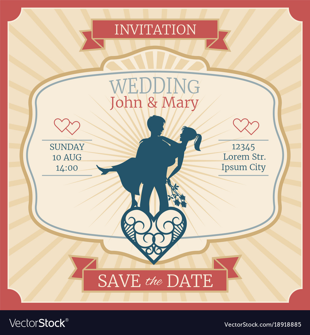 Wedding invitation card with just married