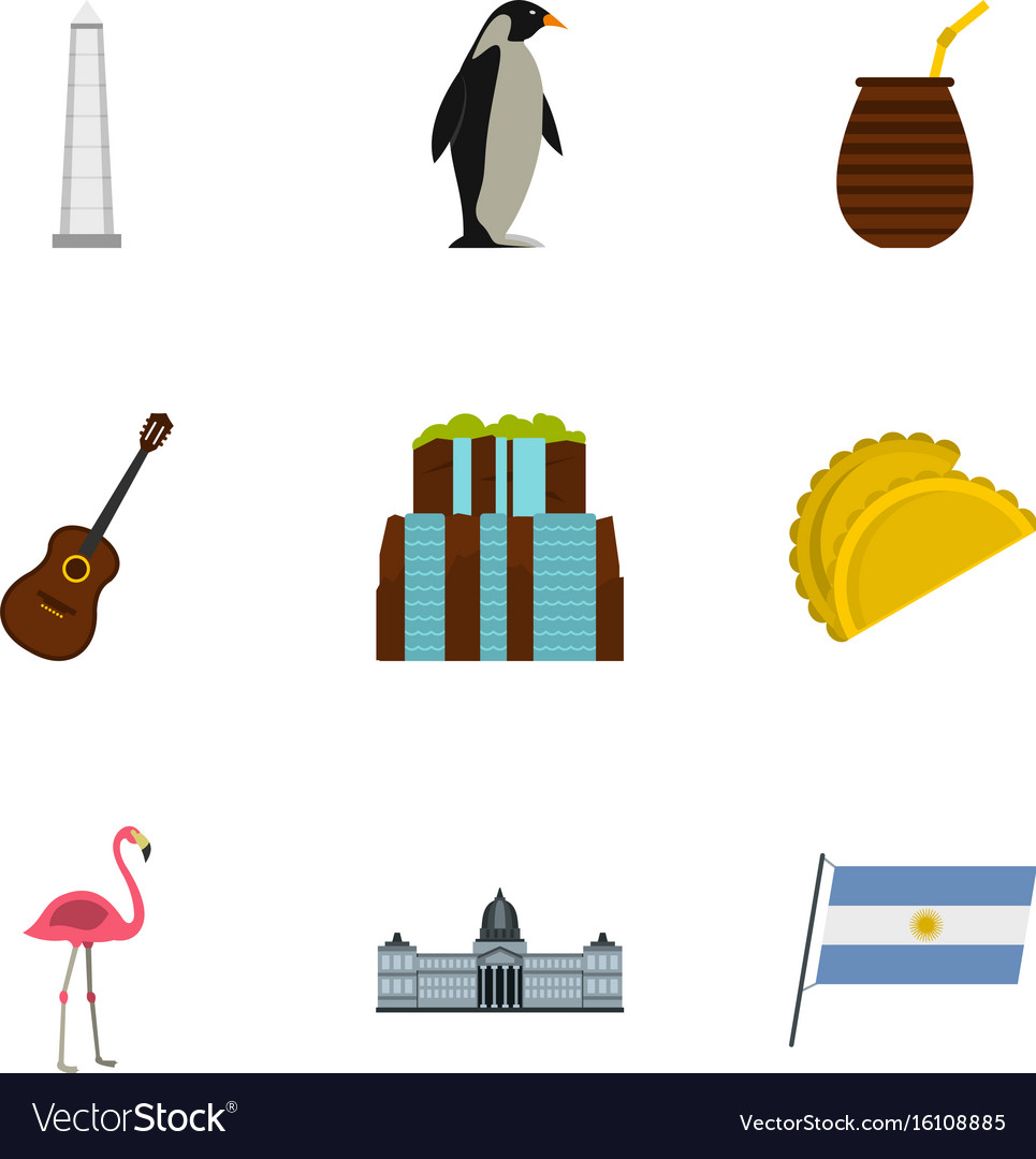 Wild nature of argentina icons set cartoon style vector image