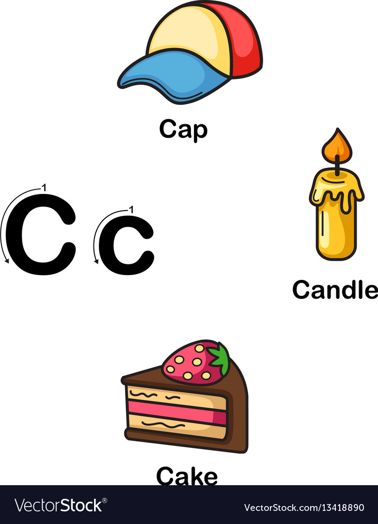 Alphabet letter c-cap candle cake