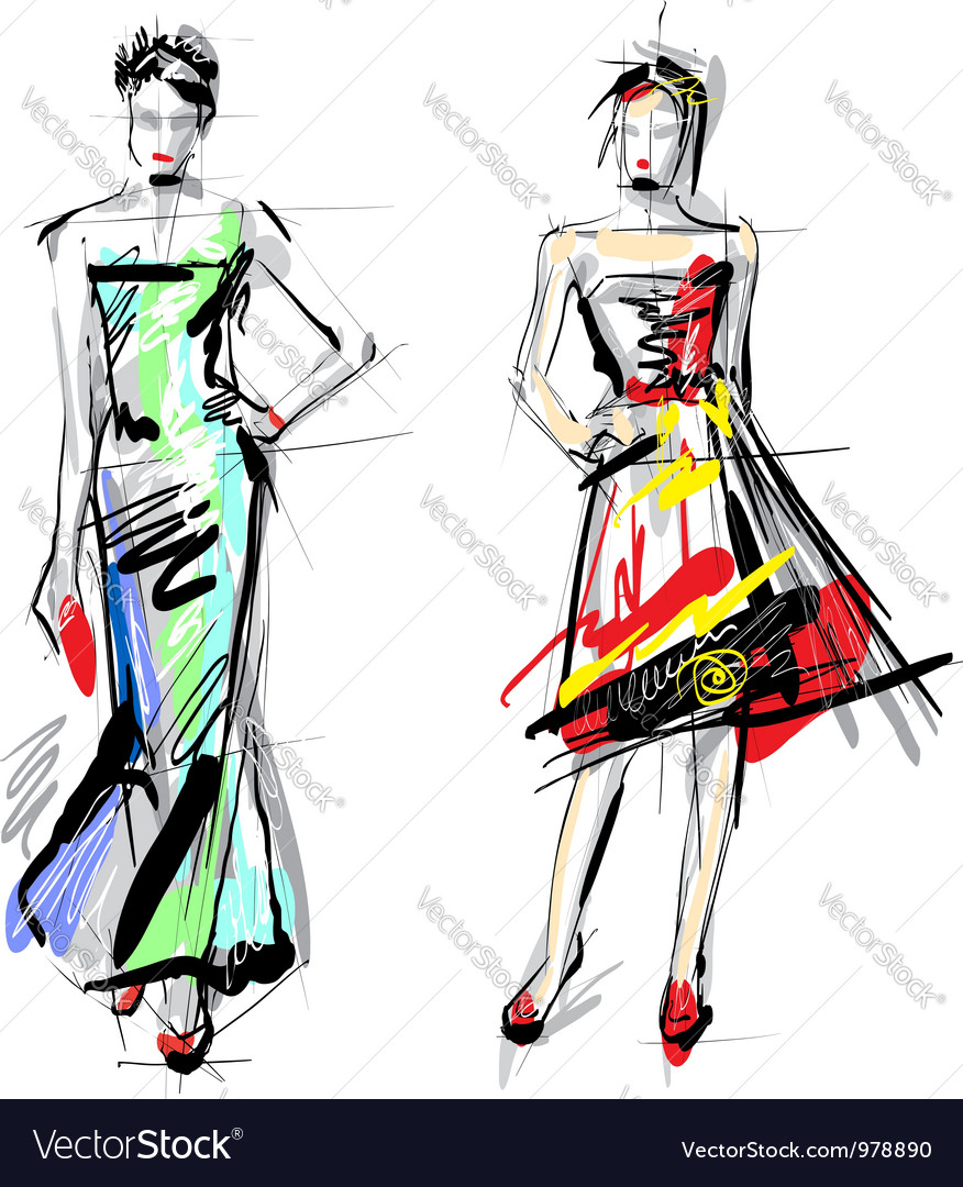 Artistic Fashion Sketches Royalty Free Vector Image