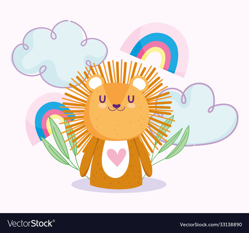 Baby shower cute little lion rainbows couds