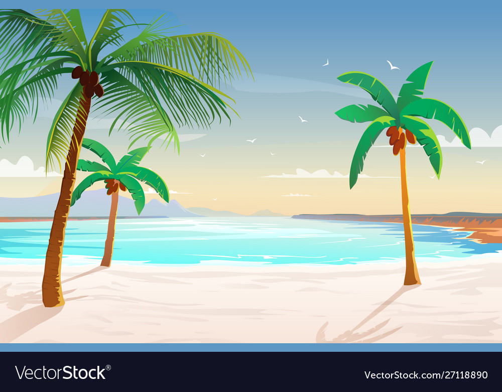 Beach with palm trees white sand and turquoise