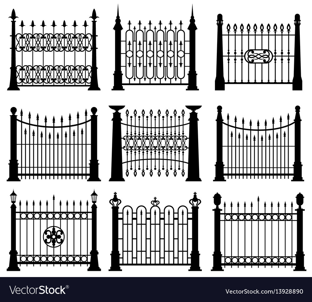 Black and white iron gates and fences architecture