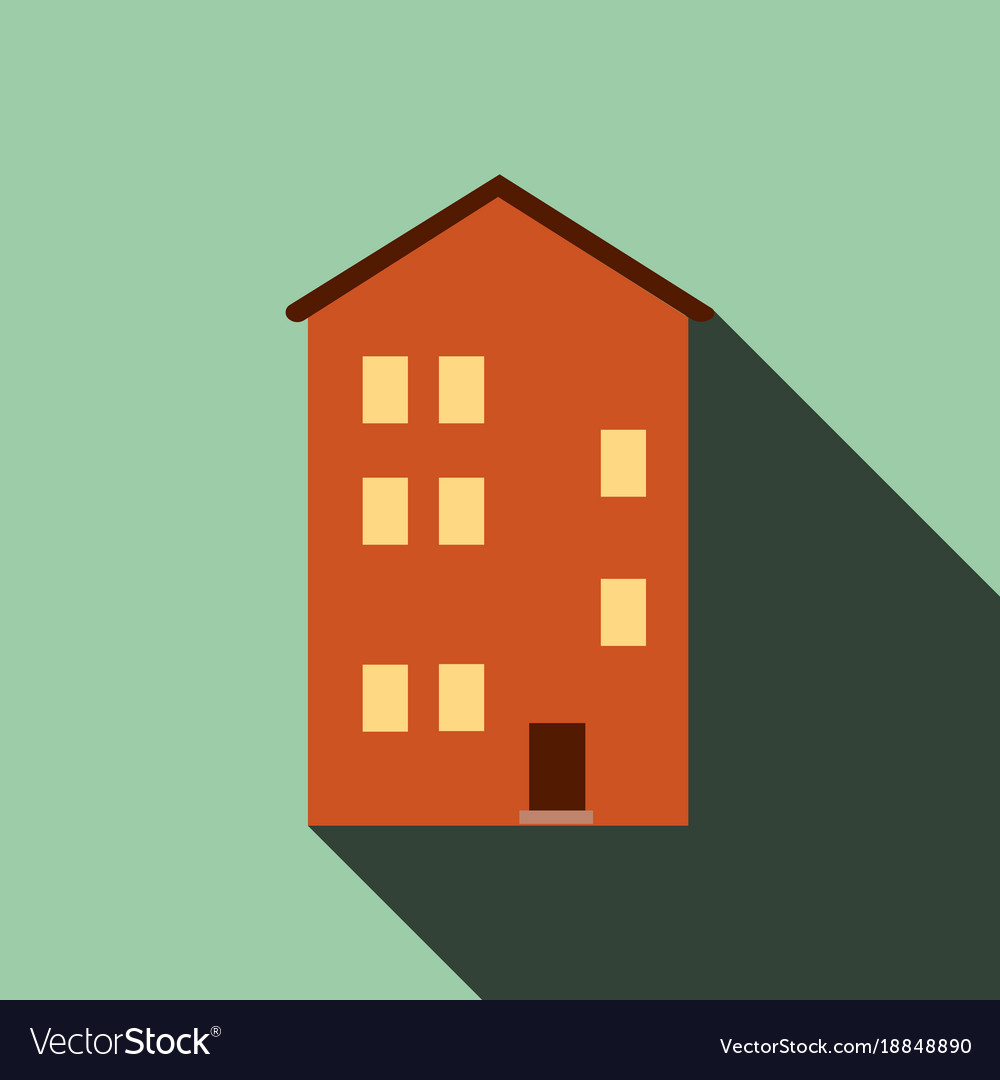 Building house icon with long shadow flat design