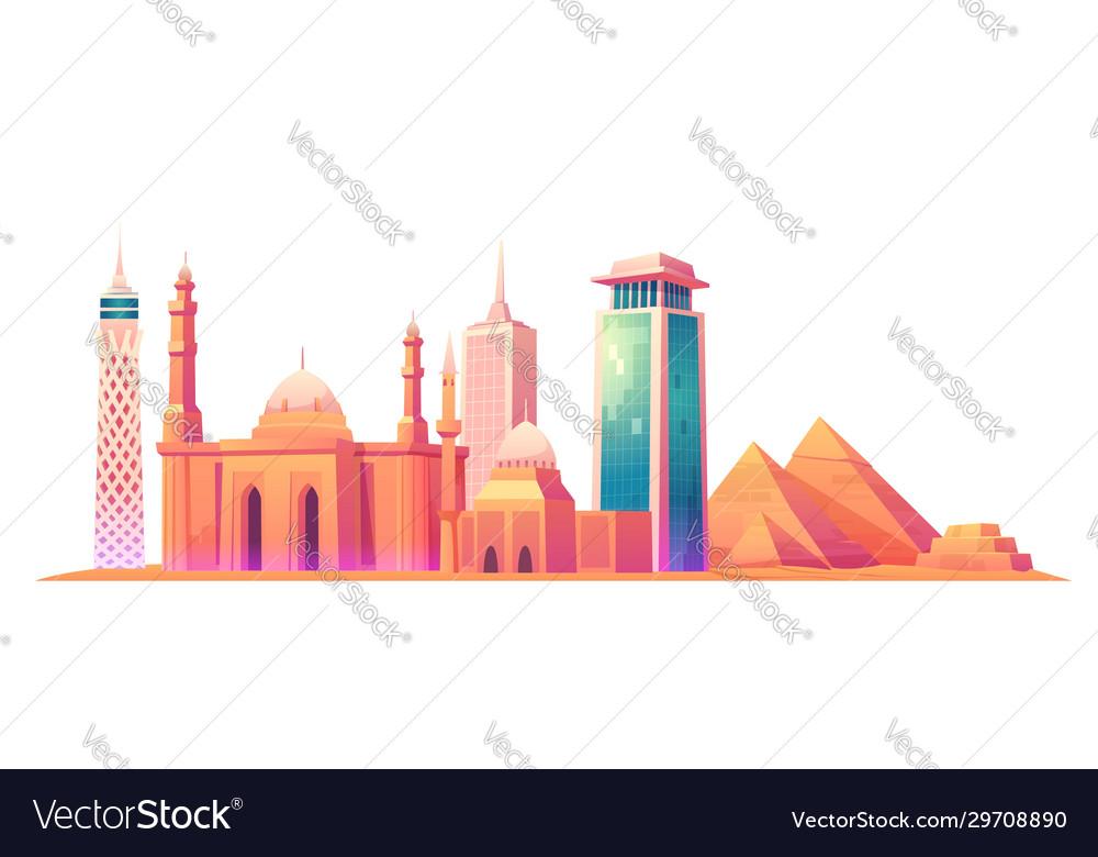 Cairo egypt skyline with world famous landmarks