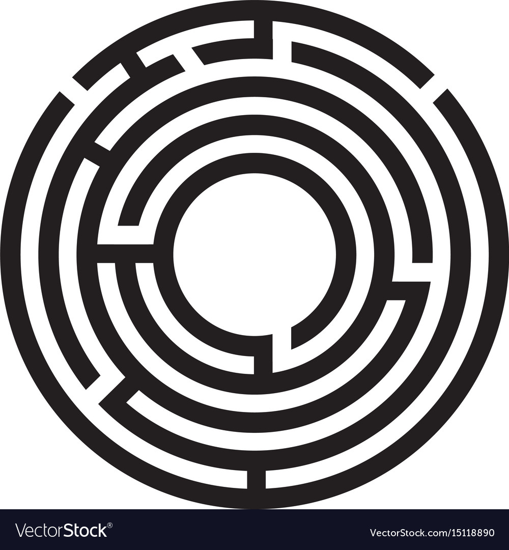 Circle maze symbol on white background round maze