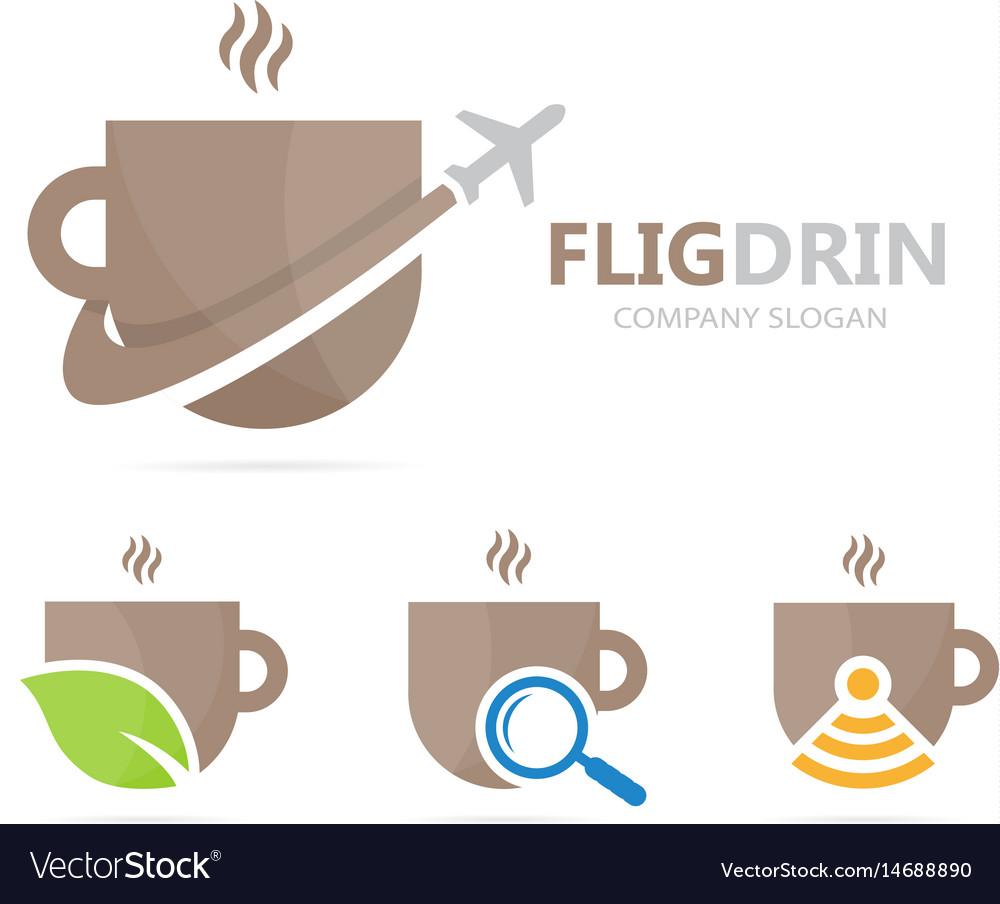 Coffee and airplane logo combination