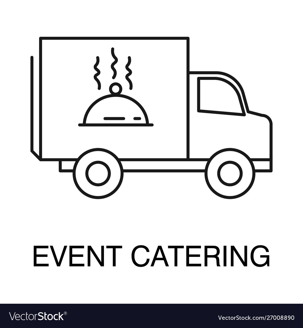Event catering isolated outline icon logo