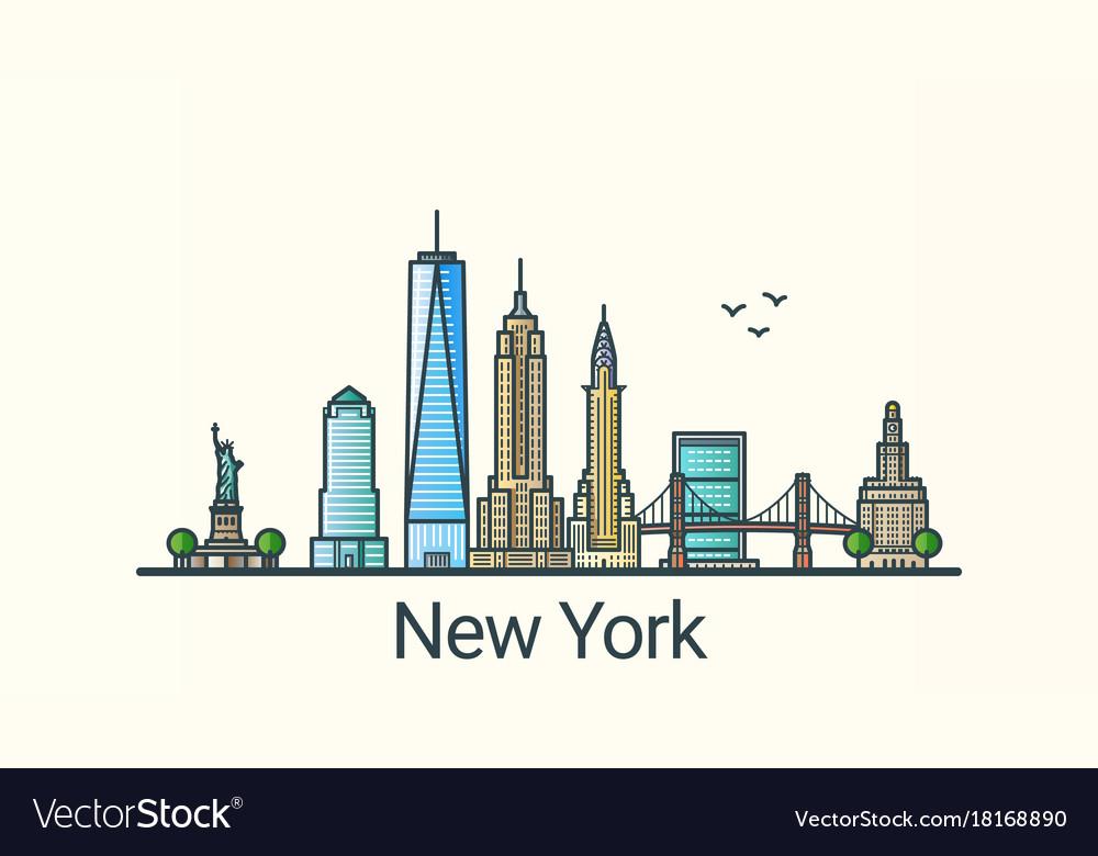 Flat line new york banner
