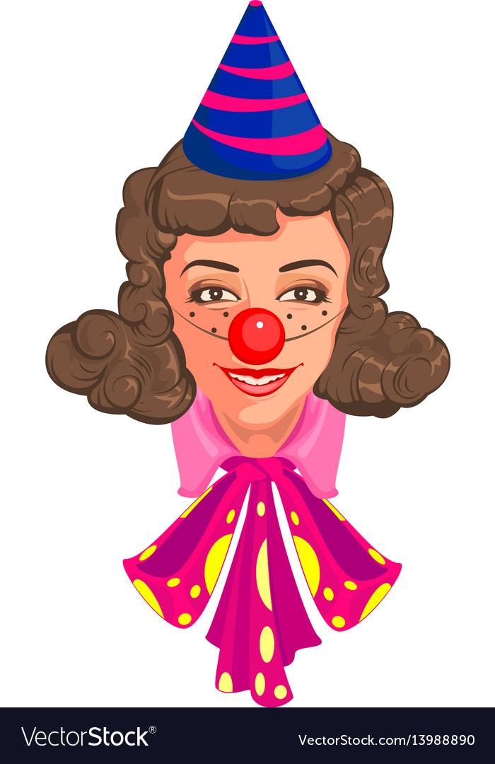 Head woman mom in clown attire vector image