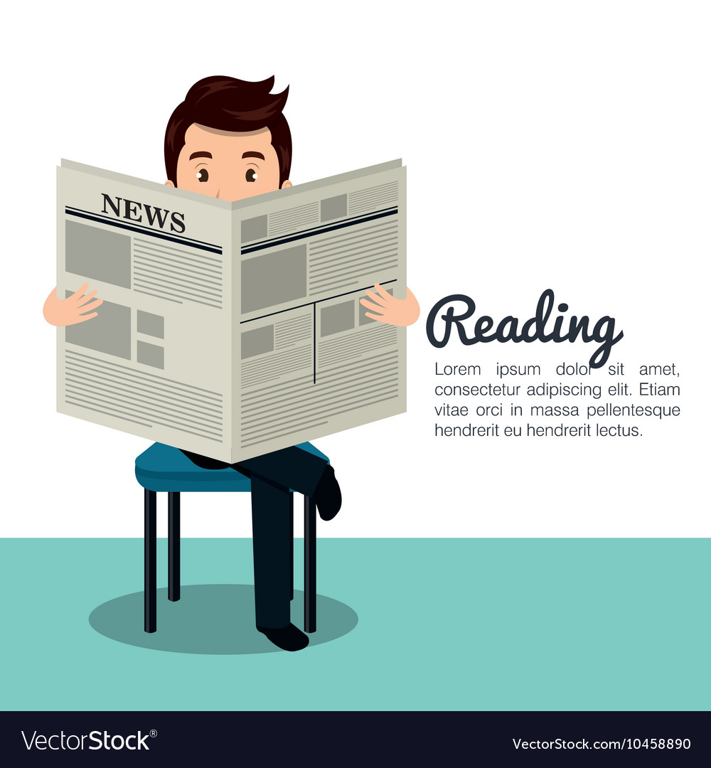 man reading newspaper icon royalty free vector image