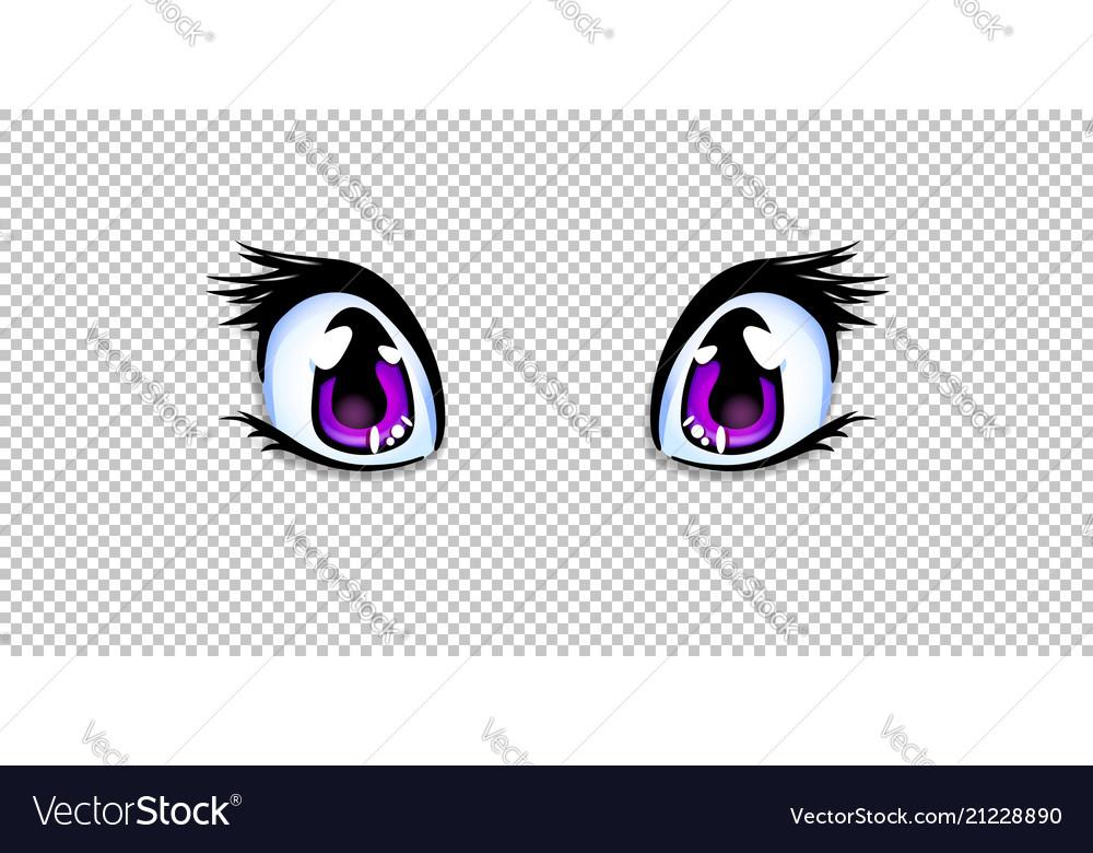 Manga Anime Pink Eyes For Creation Cartoon Kawaii Vector Image