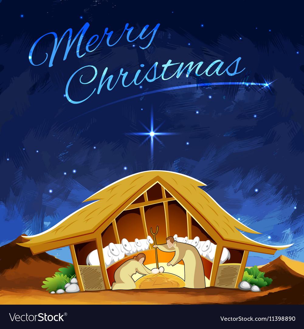 Nativity scene showing birth of Jesus on Christmas