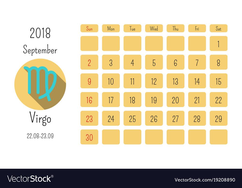 Horoscope Calendar.September Calendar 2018 With Horoscope Signs