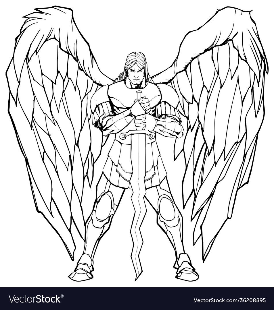 Archangel michael standing line art