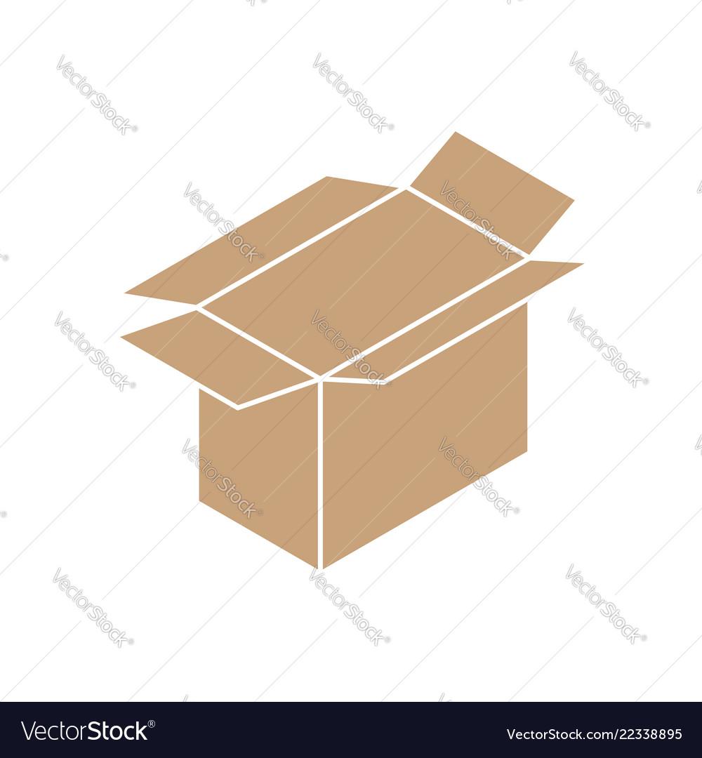 Cardboard box open icon sign