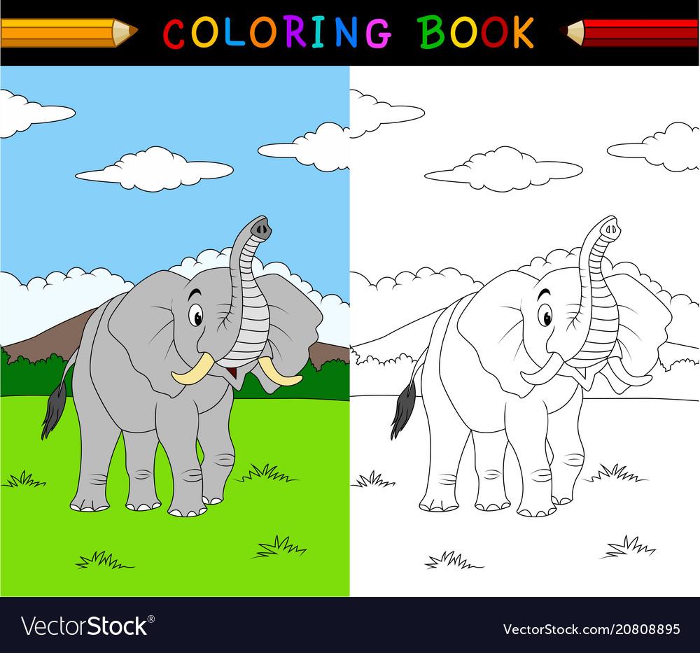 Cartoon elephant coloring book