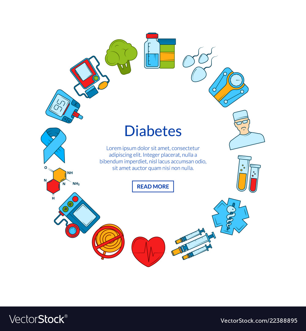 Colored diabetes icons in circle shape