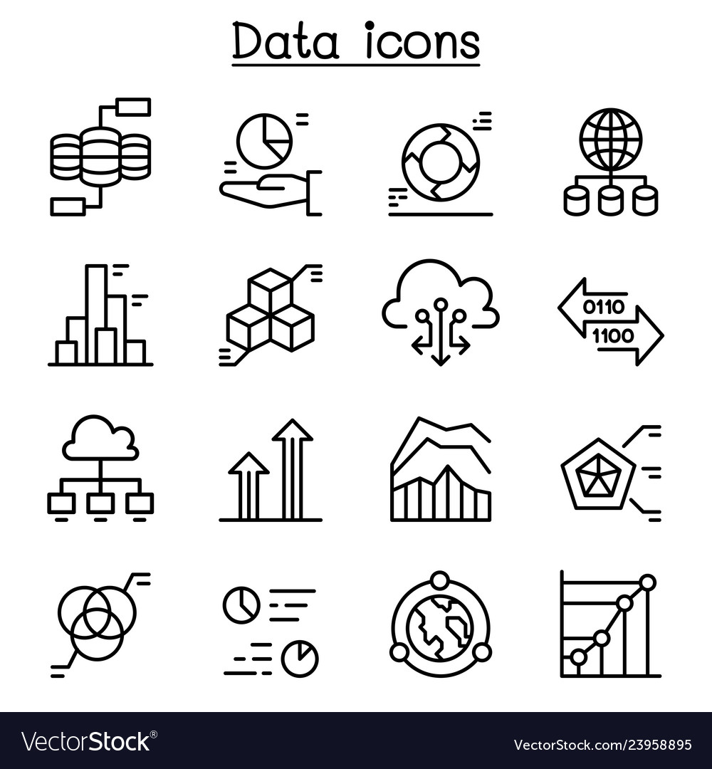 Data icon set in thin line style