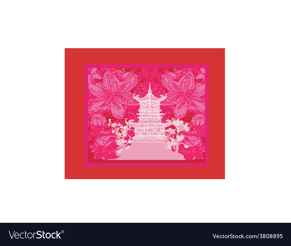Japanese old building on abstract Asian Landscape vector image