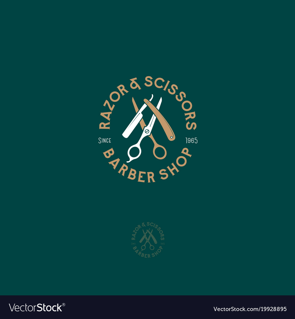 Logo barbershop scissors razor vector image