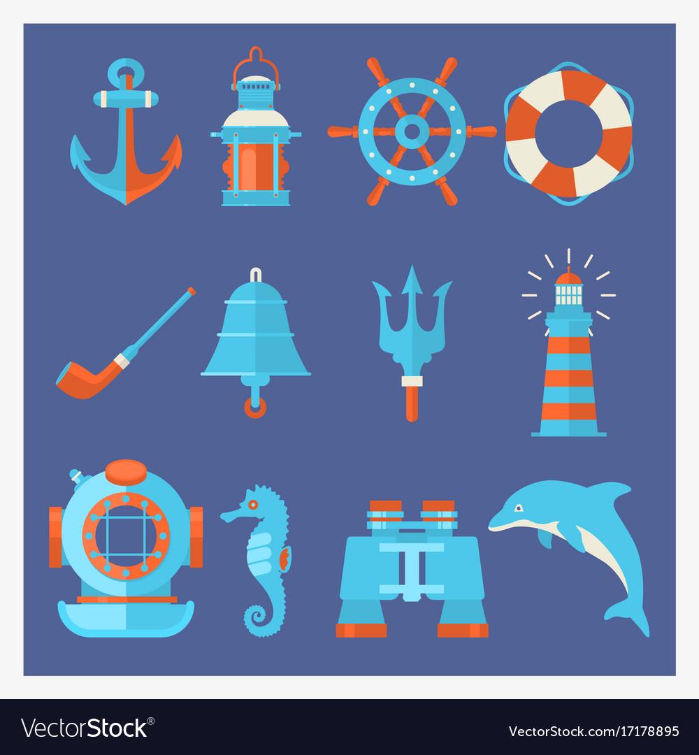 Nautical elements in cartoon style marine vector image