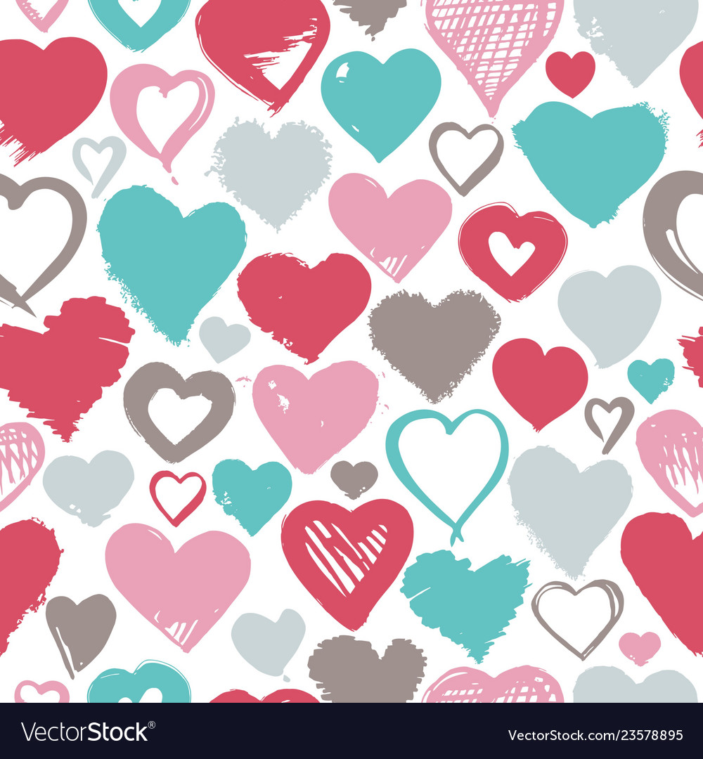 Seamless background hand drawn stylized hearts vector