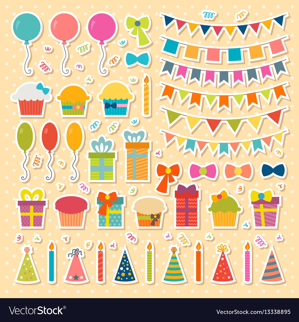 Set of birthday party design elements stickers