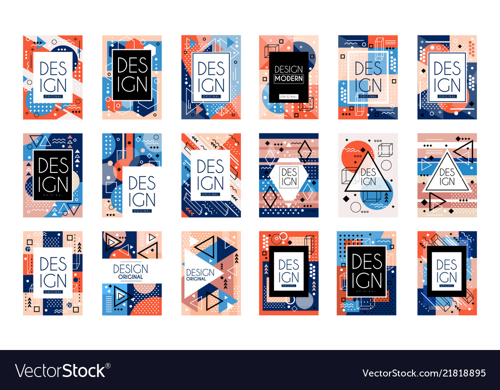 Set of cards with colorful bright abstract