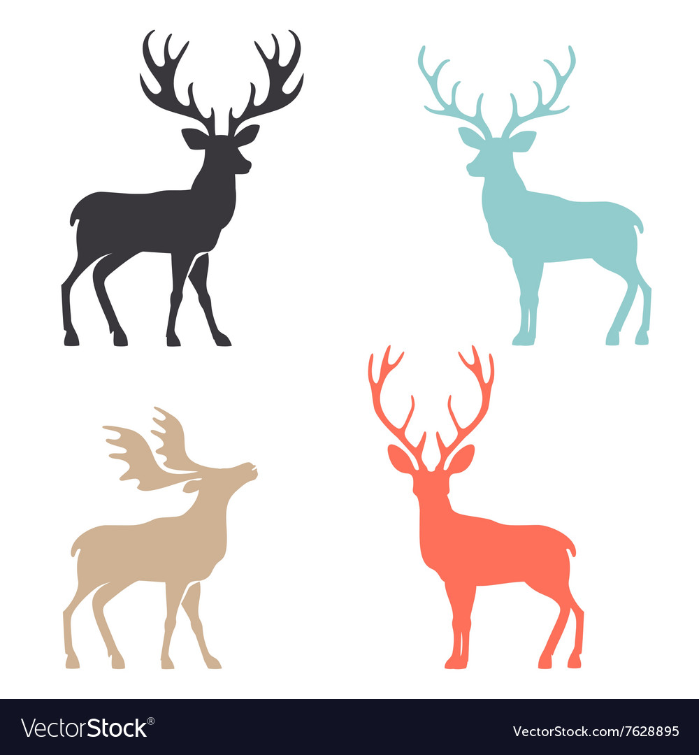 Silhouette deer with great antler animal