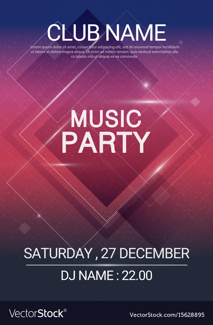 Square shape music party edm poster electronic